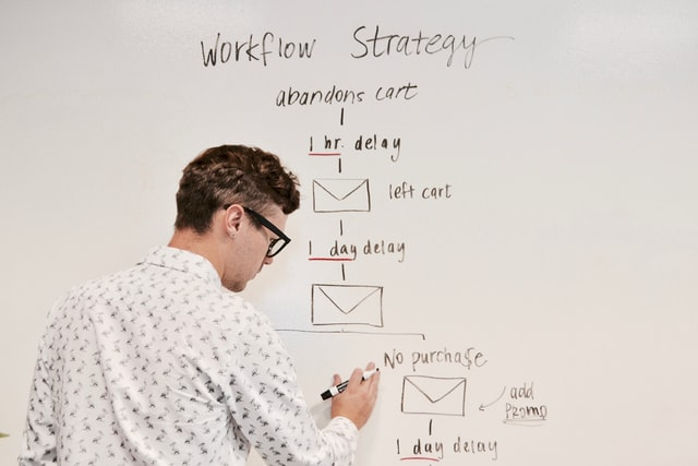 Man standing at dry-erase board, writing out a company work flow plan